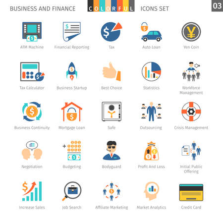 credit crisis: Business and FIinance Colorful Icons Set 03