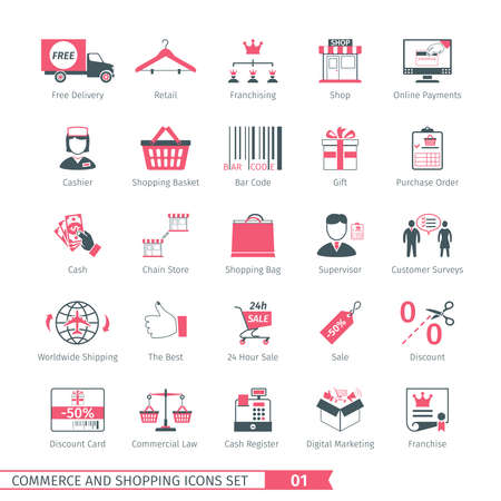 commercial law: Commerce And Shopping Icons Set 01