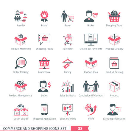 sales representative: Commerce And Shopping Icons Set 03