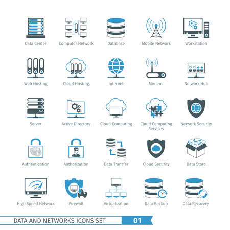 hub computer: Data And Networks Icon Set 01