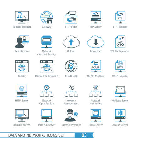 Data en netwerken Icon Set 03