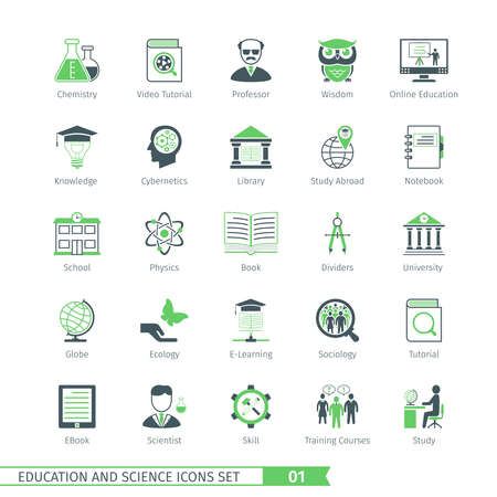01: Education And Science Icons Set 01 Illustration