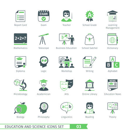philosophy of logic: Education And Science Icons Set 03 Illustration