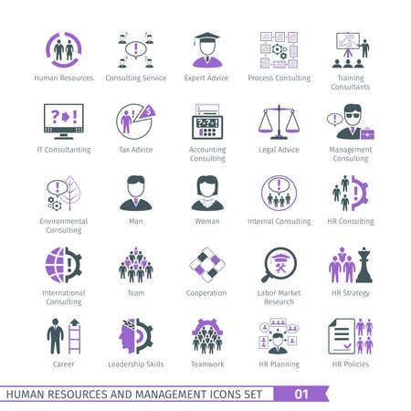 recursos humanos: Recursos Humanos y Gestión de iconos Set 01 Vectores