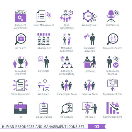 Human resources en management Icons Set 03 Stock Illustratie