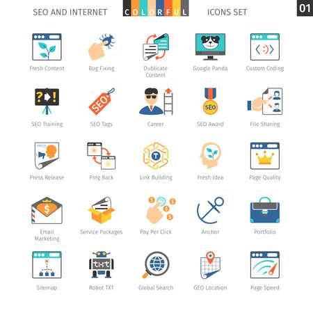 internet icon: SEO Internet And Development Colorful Icon Set 01
