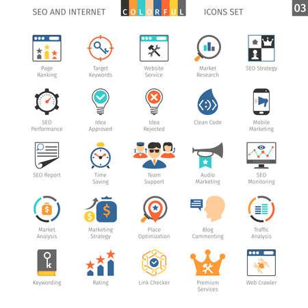 internet icon: SEO Internet And Development Colorful Icon Set 03 Illustration