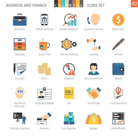 local business: Business and FIinance Colorful Icons Set 02