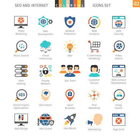 SEO Internet And Development Colorful Icon Set 02 Vectores