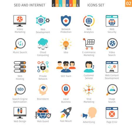 SEO Internet And Development Colorful Icon Set 02 Illustration