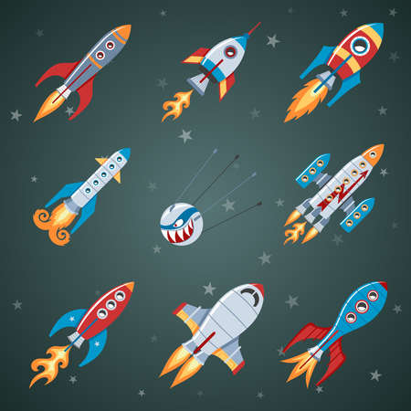 travel star: Rockets Flat Icon Set On Black Background