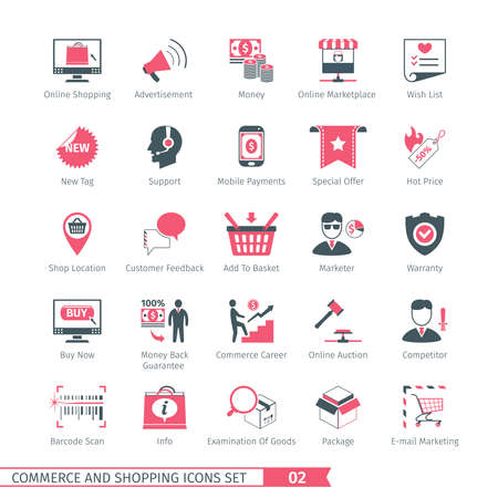 shopping icons: Commerce And Shopping Icons Set 02 Illustration