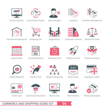 merchandiser: Commerce And Shopping Icons Set 04 Illustration