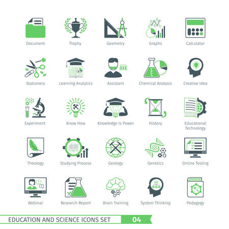 pedagogy: Education And Science Icons Set 04 Illustration