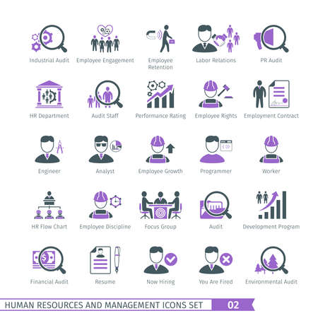 financial audit: Human Resources And Management  Icons Set 02 Illustration