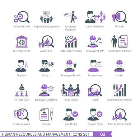 relaciones laborales: Recursos Humanos y Gestión de iconos Set 02 Vectores