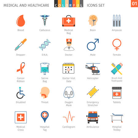 oxygen transport: Medical and Health Care Colorful Icons Set 01
