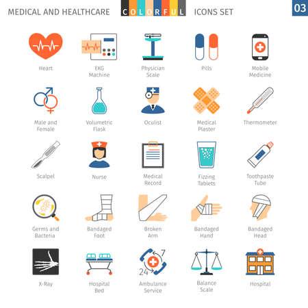 Médicaux et de santé icônes colorées, 03 Vecteurs