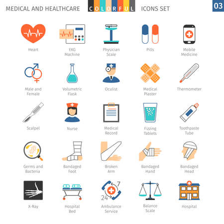 volumetric flask: Medical and Health Care Colorful Icons Set 03
