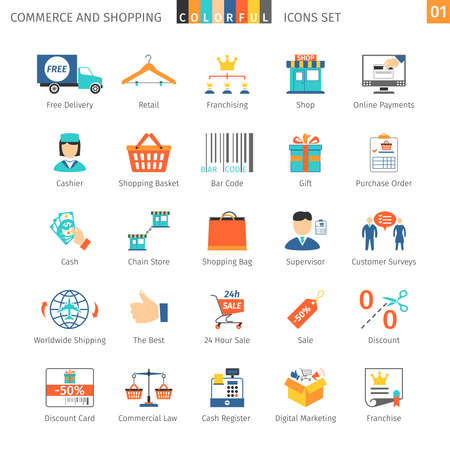 commercial law: Commerce And Shopping Colorful Icons