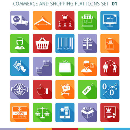 commercial law: Commerce And Shopping Flat Icons