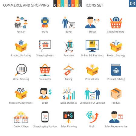 Commerce En Winkelen kleurrijke pictogrammen Stock Illustratie