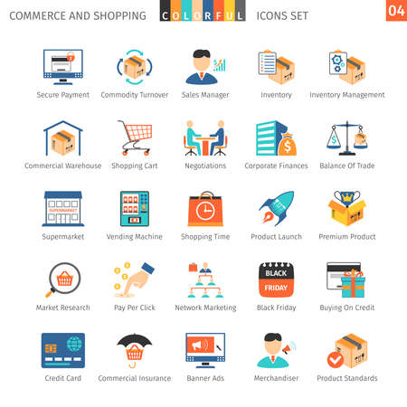purchasing manager: Commerce And Shopping Colorful Icons