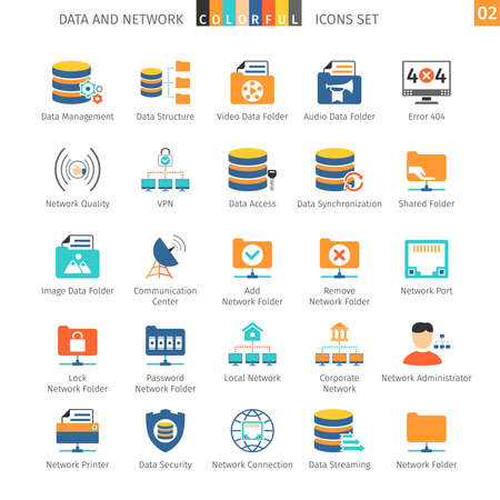 Data en netwerken Kleurrijke Icoon Stockfoto - 48832804
