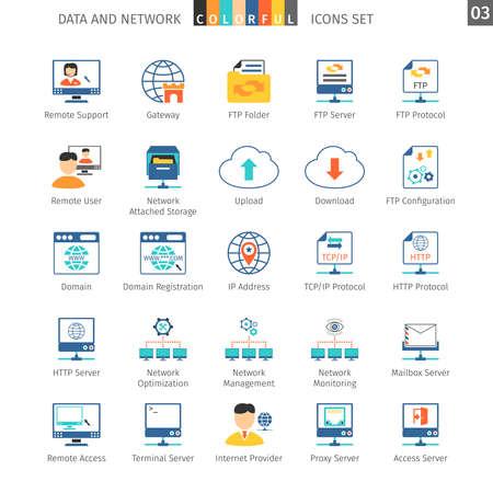 buzon: Icono de redes de datos y colorido
