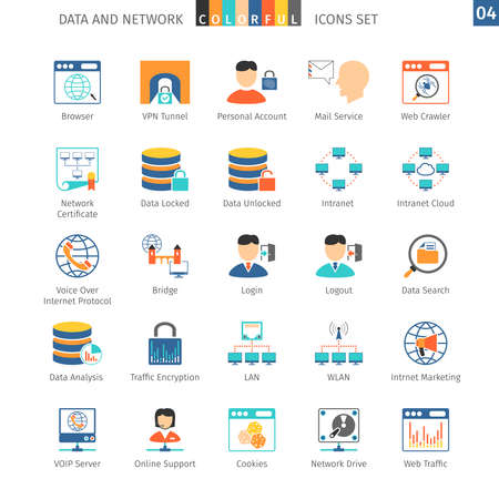 datos personales: Data And Networks Colorful Icon
