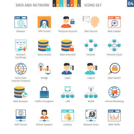 Data en netwerken Kleurrijke Icoon Stock Illustratie