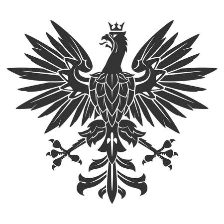 bravery: Black Eagle For Heraldry Or Tattoo Design Isolated On White Background