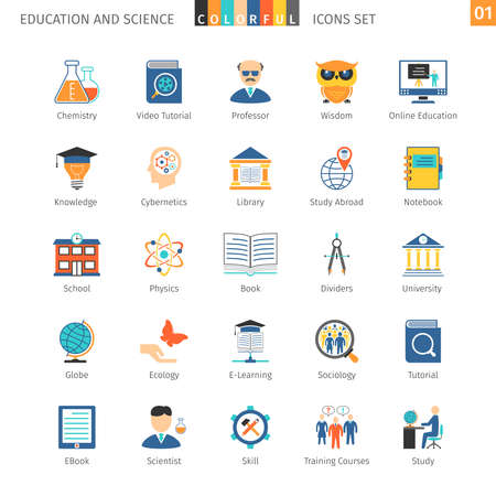 Education And Science Colorful Icons Stock Vector - 48832809