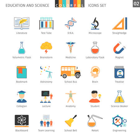 collegian: Education And Science Colorful Icons