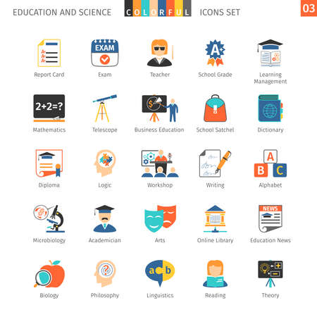 school icon: Education And Science Colorful Icons