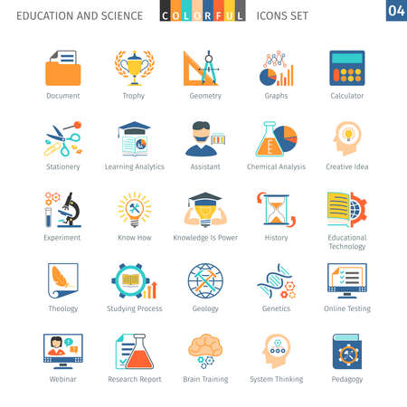 pedagogy: Education And Science Colorful Icons