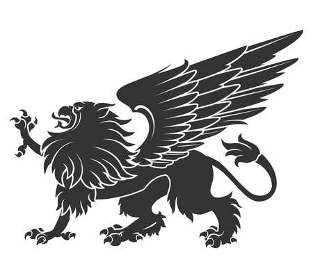 Black Griffin For Heraldry Or Tattoo Design Isolated On White Background