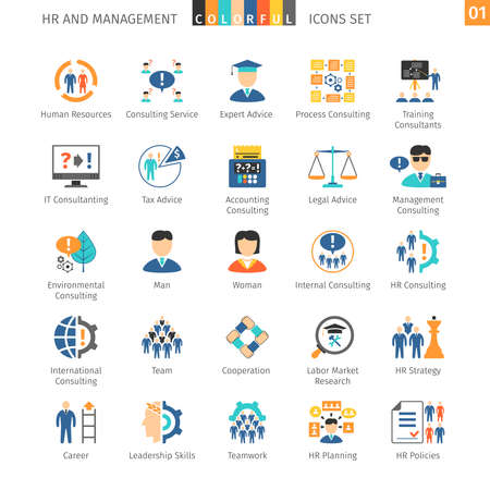 set: Human Resources And Management Flat Icons