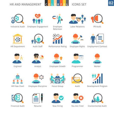 인적 자원 및 관리 플랫 아이콘