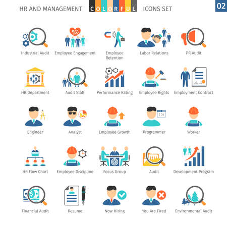 relaciones laborales: Recursos Humanos y Gestión planas Iconos Vectores