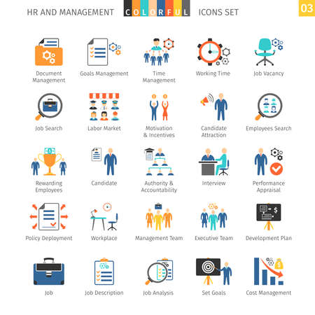 labor policy: Human Resources And Management Flat Icons