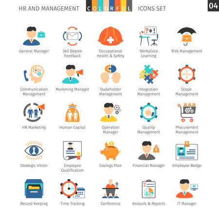 financial risk: Human Resources And Management Flat Icons