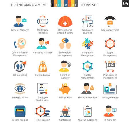 gestion: Recursos Humanos y Gestión planas Iconos Vectores