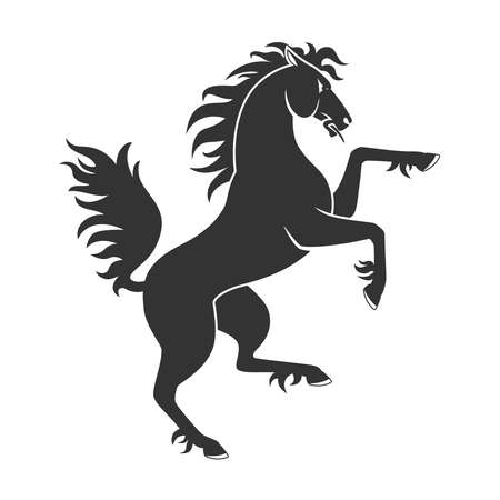 Black Rearing Up Horse For Heraldry Or Tattoo Design Isolated On White Background Vettoriali