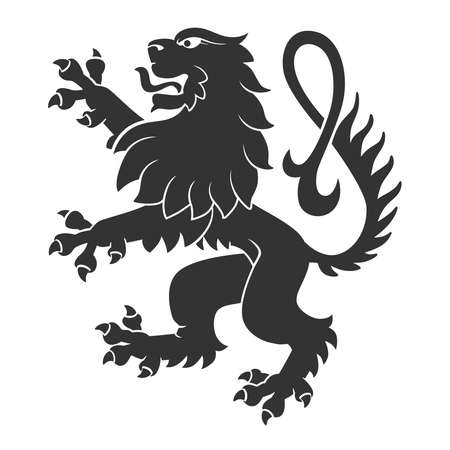 standing lion: Black Standing Lion For Heraldry Or Tattoo Design Isolated On White Background