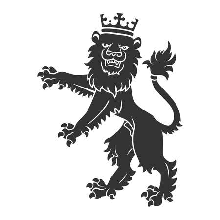 standing lion: Black Standing Lion With Crown For Heraldry Or Tattoo Design Isolated On White Background
