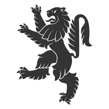 Black Attacking Lion For Heraldry Or Tattoo Design Isolated On White Background