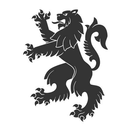 Black Roaring Lion For Heraldry Or Tattoo Design Isolated On White Background