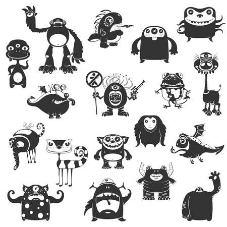 ghouls: Collection Of Cartoon Funny Monsters Silhouettes On White Background