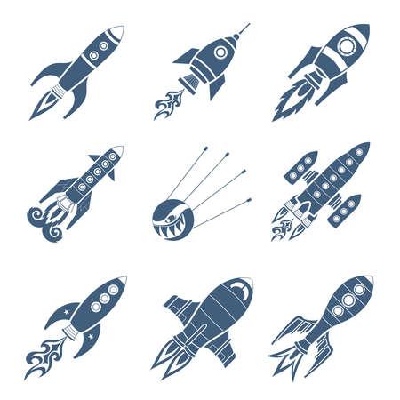 astronautics: Rockets Black Icon Set On White Background Illustration